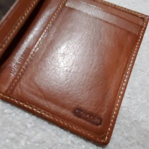 Coach brown leather cardholder.